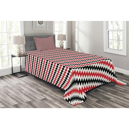 Red And Black Bedspread Set Hypnotizing Vintage Zigzag