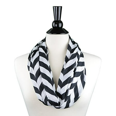 Womens Fashion Infinity Scarf - Pop Fashion Womens Chevron Arrow Patterned Infinity Scarf with Hidden Zipper Pocket