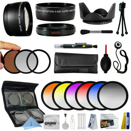 25 Piece Advanced Lens Package For Sony Alpha NEX-6 NEX-7 NEX-3N NEX-5T NEX-5R Mirrorless Digital Cameras Includes 0.43X + 2.2x Lens + 3 Piece Pro Filters + 6 Piece Colored Filter Set