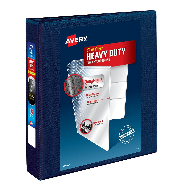 "Avery 1.5"" Heavy Duty View Binder, EZD Ring, Navy, 400 Sheets"