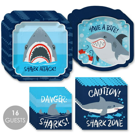 Shark Zone - Jawsome Shark Party or Birthday Party Tableware Plates and Napkins - Bundle for 16](Shark Party Plates)