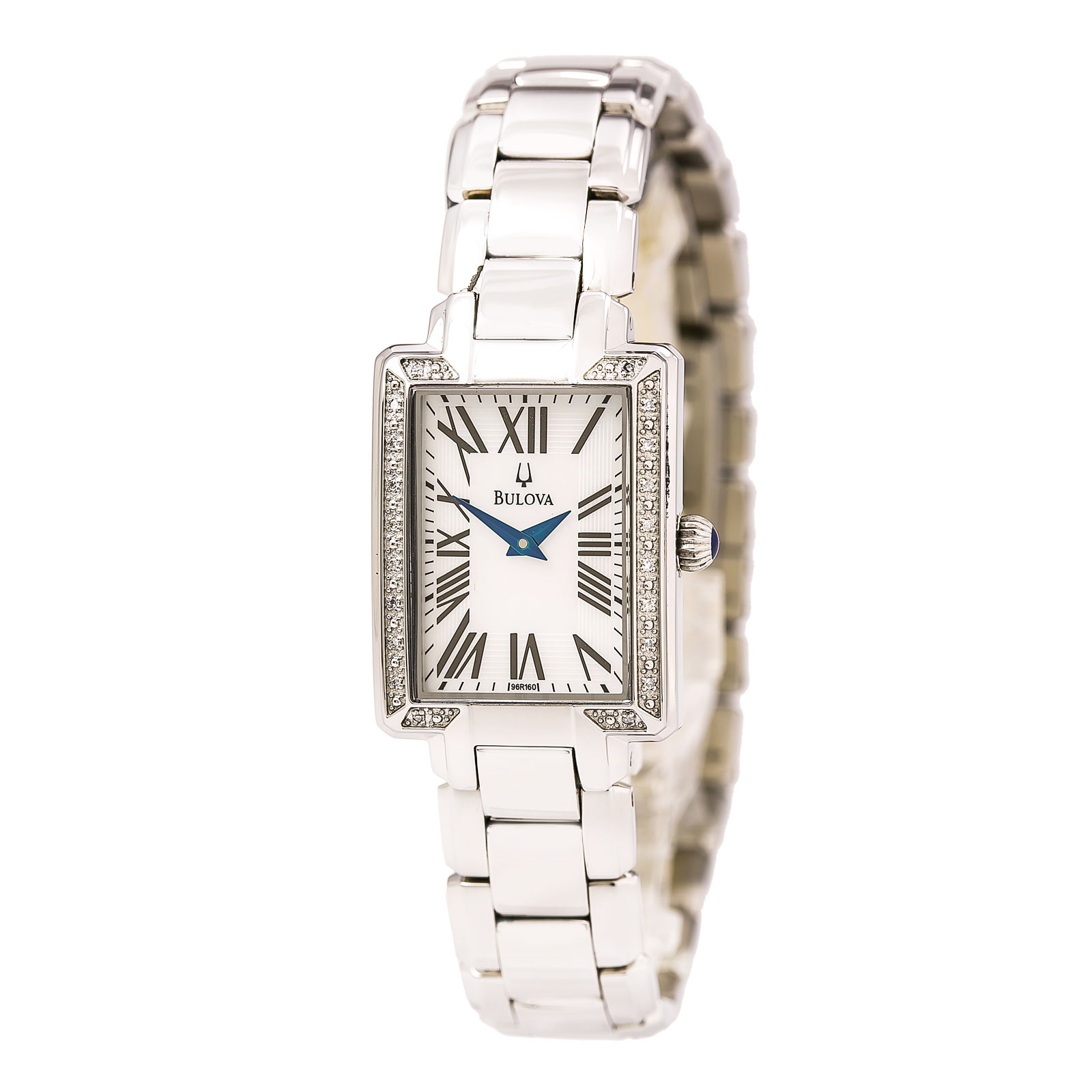 Bulova 96R160 Women's Fairlawn Diamond Accented Bezel White MOP Dial Stainless Steel Bracelet Watch