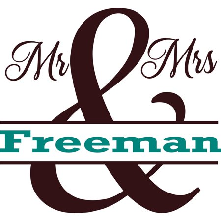 Personalized Name Vinyl Decal Sticker Custom Initial Wall Art Personalization Decor Wedding Couple Mr & Mrs Husband Wife Family 12 Inches x 12 Inches (Wedding Decals)