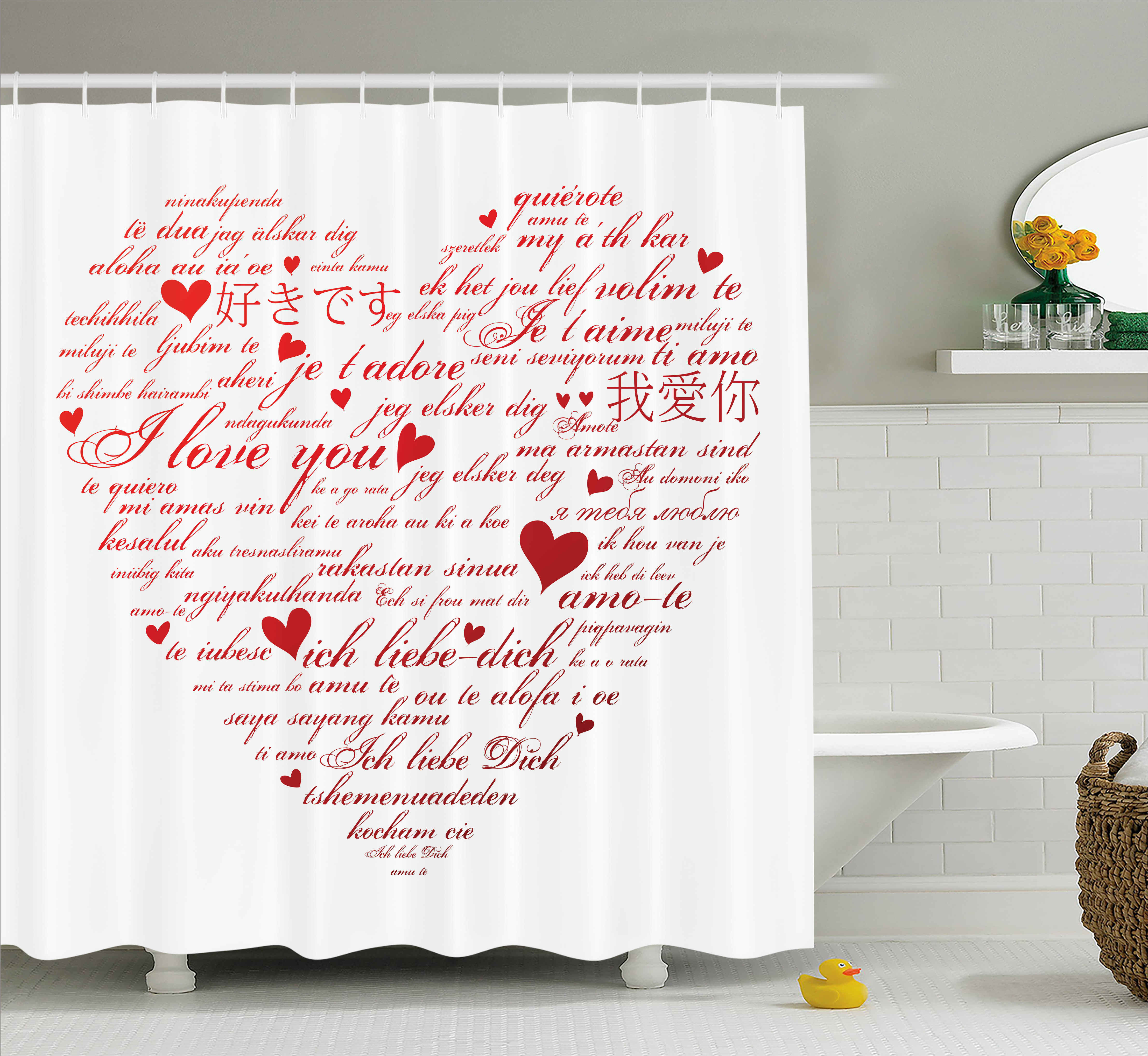 I Love You Shower Curtain, Love Words in Various Language...