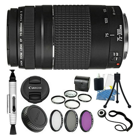 Canon EF 75-300mm Telephoto Zoom Lens for Canon SLR Cameras + Filters & (Best 75 300 Lens For Canon)
