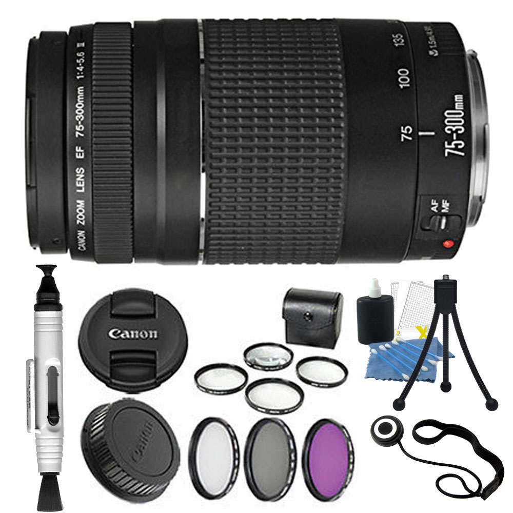 Canon EF 75-300mm Telephoto Zoom Lens for Canon SLR Cameras + Filters & More
