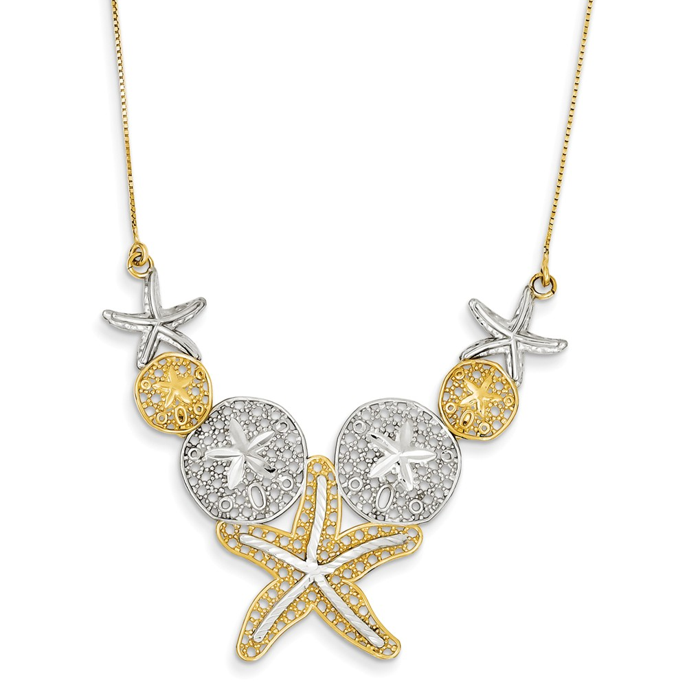 14K Yellow Gold 18in and Rhodium D/C Sea Life Necklace