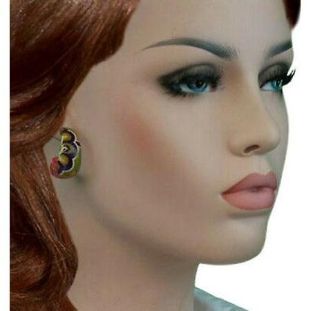 Psychedelic Multicolor Floral Hoop Pierced Earrings 1 1/4
