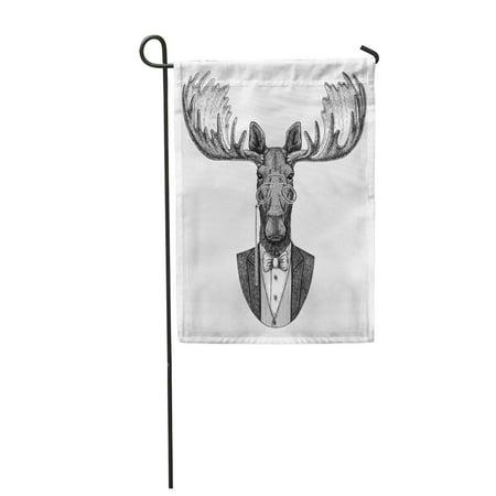KDAGR Bow Moose Elk Hipster for Tattoo Emblem Badge Patch Tie Garden Flag Decorative Flag House Banner 28x40 inch