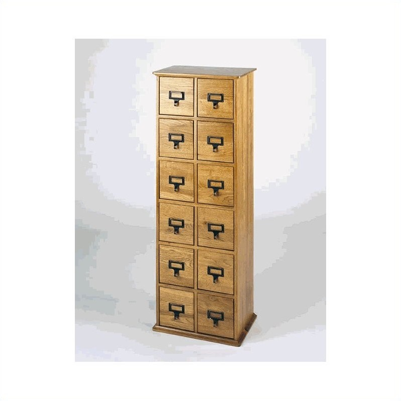 "Leslie Dame 40"" 12-Drawer 228 CD Media Storage Cabinet-Oak"