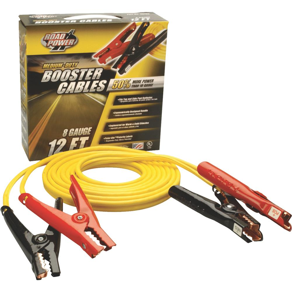 Coleman Cable 08471 12' Medium-Duty Booster Cable with Non-Polar Glow Clamps, 8-Gauge