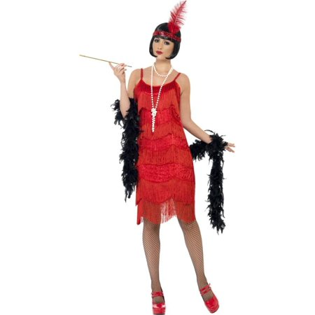 Red Flapper Dresses (Shimmy Flapper Costume Beaded Dress Adult:)