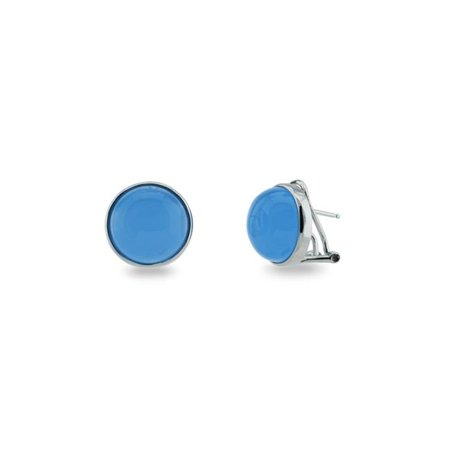 Fronay 205121W Faceted Blue Chalcedony Colored Cabuchon Clip Earrings in Sterling Silver - image 1 de 1