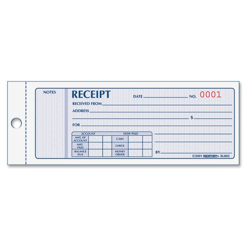 Money Receipt Book, 2.75 x 7.625 Inches, 100 Pages (8L800), Formguard In 23L117 Inch Black 275 Money Print... by