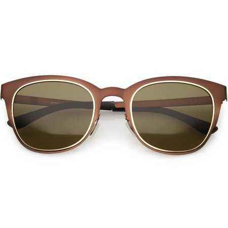 Classic Horn Rimmed Metal Square Sunglasses Polarized Lens 50mm (Bronze / Brown)