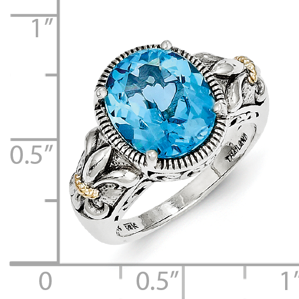 Sterling Silver Two Tone Silver And Gold Plated Sterling Silver w/Blue Topaz Ring - image 2 of 3