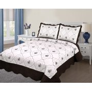 3PC Quilted Bedspread Cover  Twin Size High Quality Embroidery Quilt - Chocolate Brown