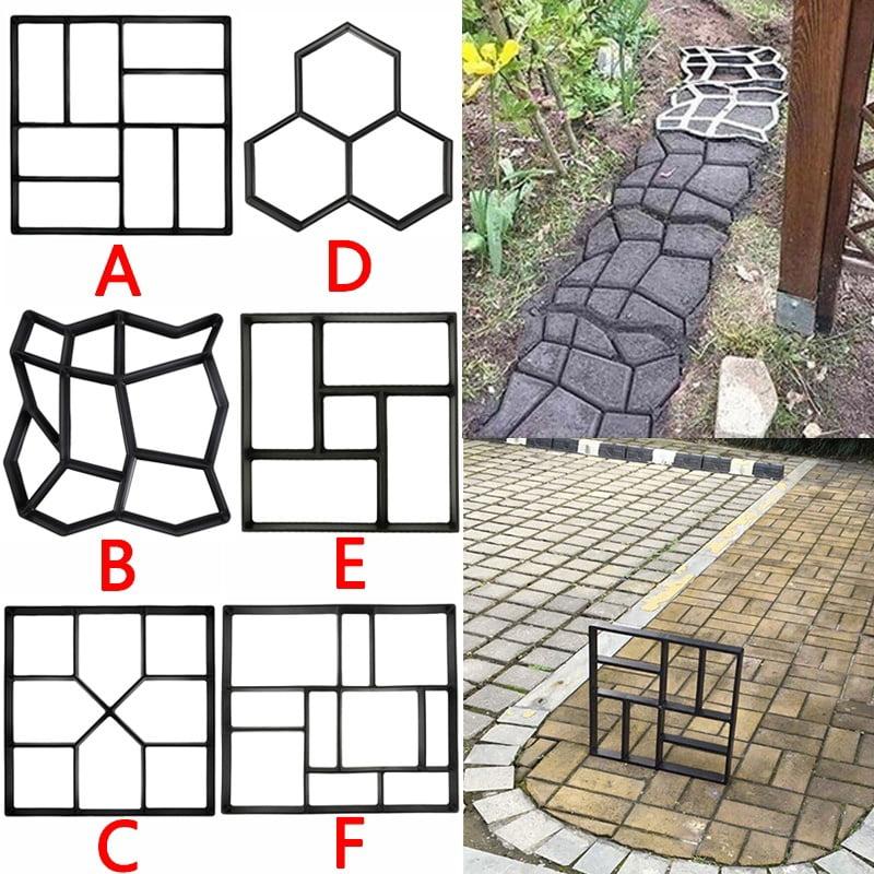 6 Styles DIY Driveway Paving Pavement Mold Patio Concrete Stepping Stone Path Walk Maker Garden Ornaments - Walmart.com - Walmart.com