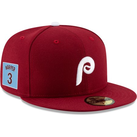 Bryce Harper Philadelphia Phillies New Era Throwback Player Patch 59FIFTY Fitted Hat - Red (Fitted Hats With Patch)