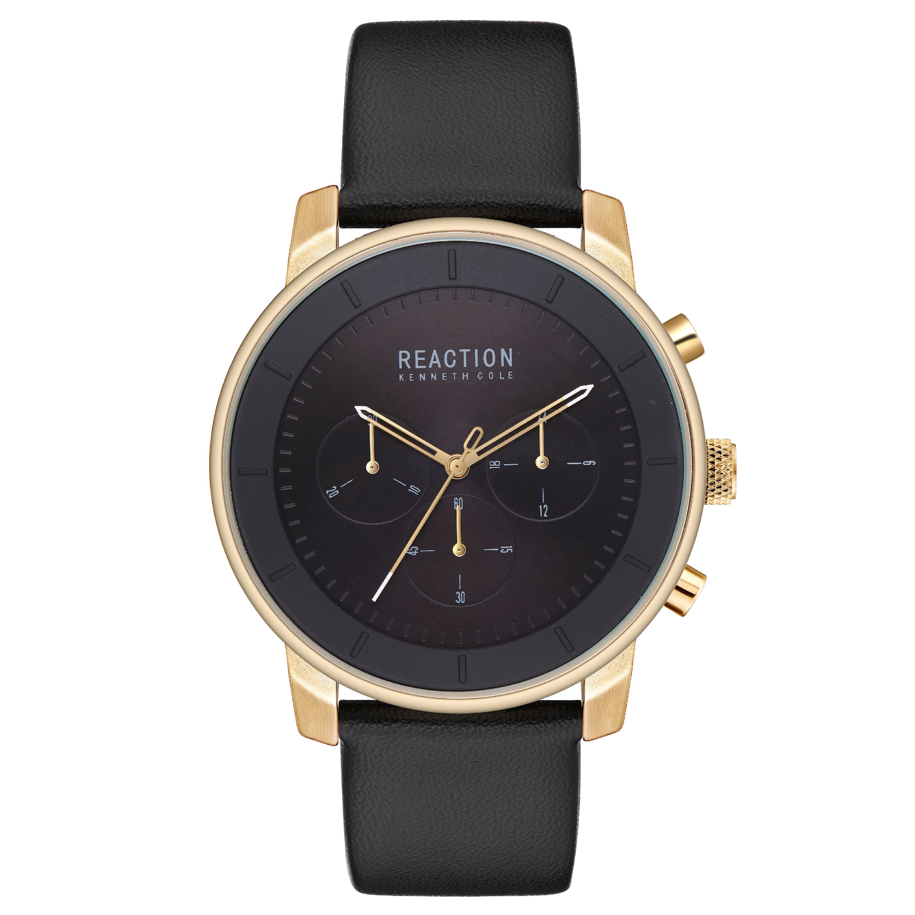 Kenneth Cole Reaction Men's Analog Display Gold Case Black Dial Black Leather Strap Watch