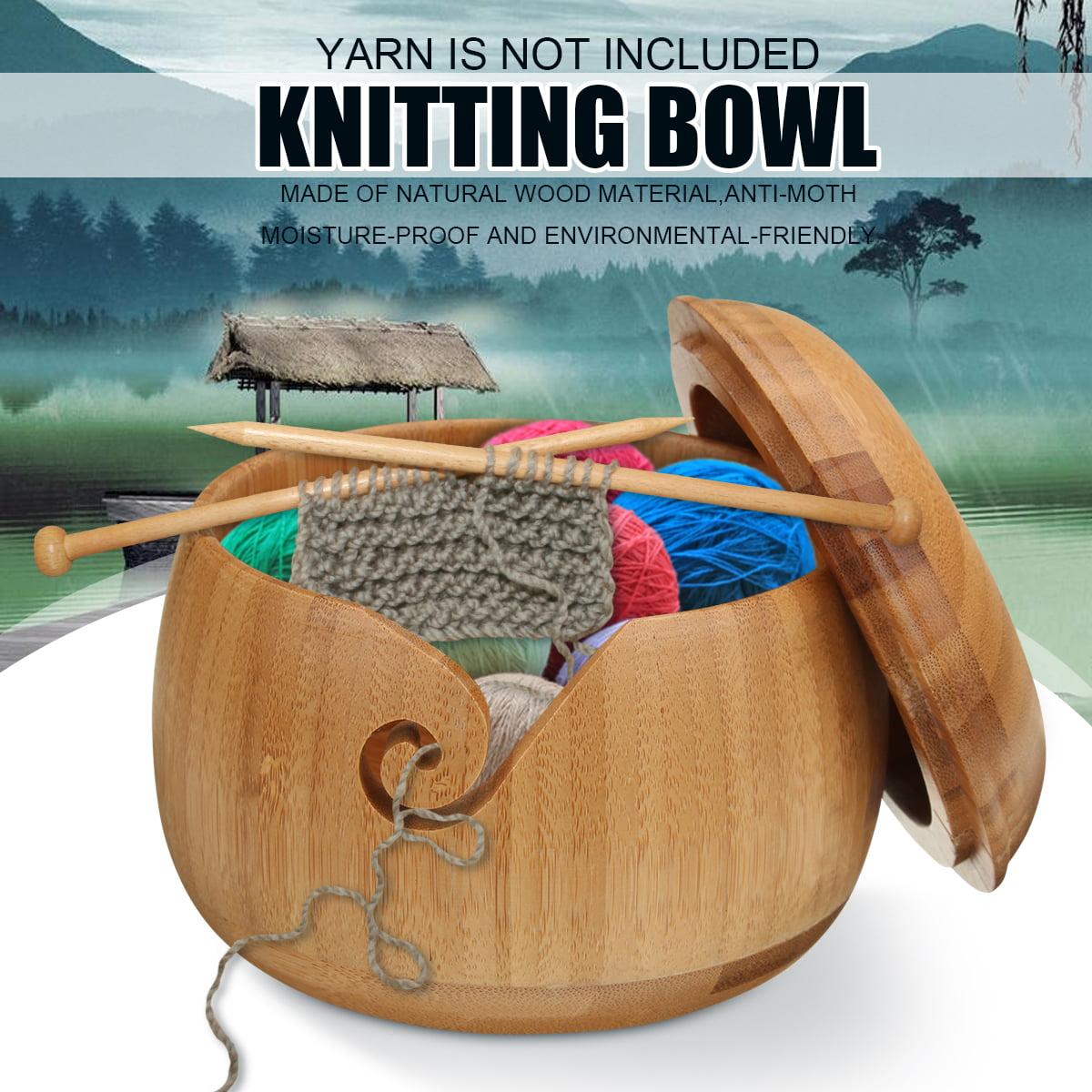 Lid USA Bamboo Yarn Bowl Holder Wooden Skeins Knitting Crochet Thread Storage