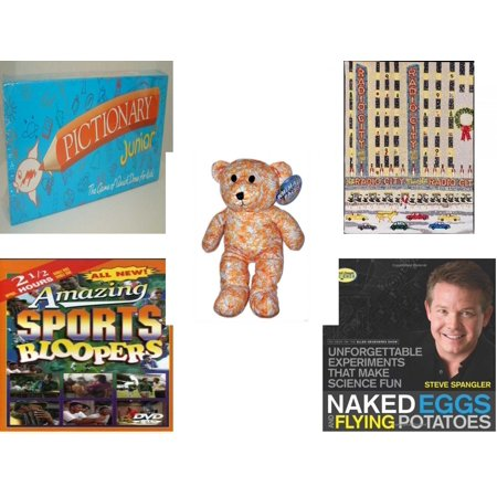 Children's Gift Bundle [5 Piece] -  Pictionary Junior The  of Quick Draw (1999) - Radio City   - Animal Pals by Kuddle Me s Yellow Orange Flower Design Bear   16