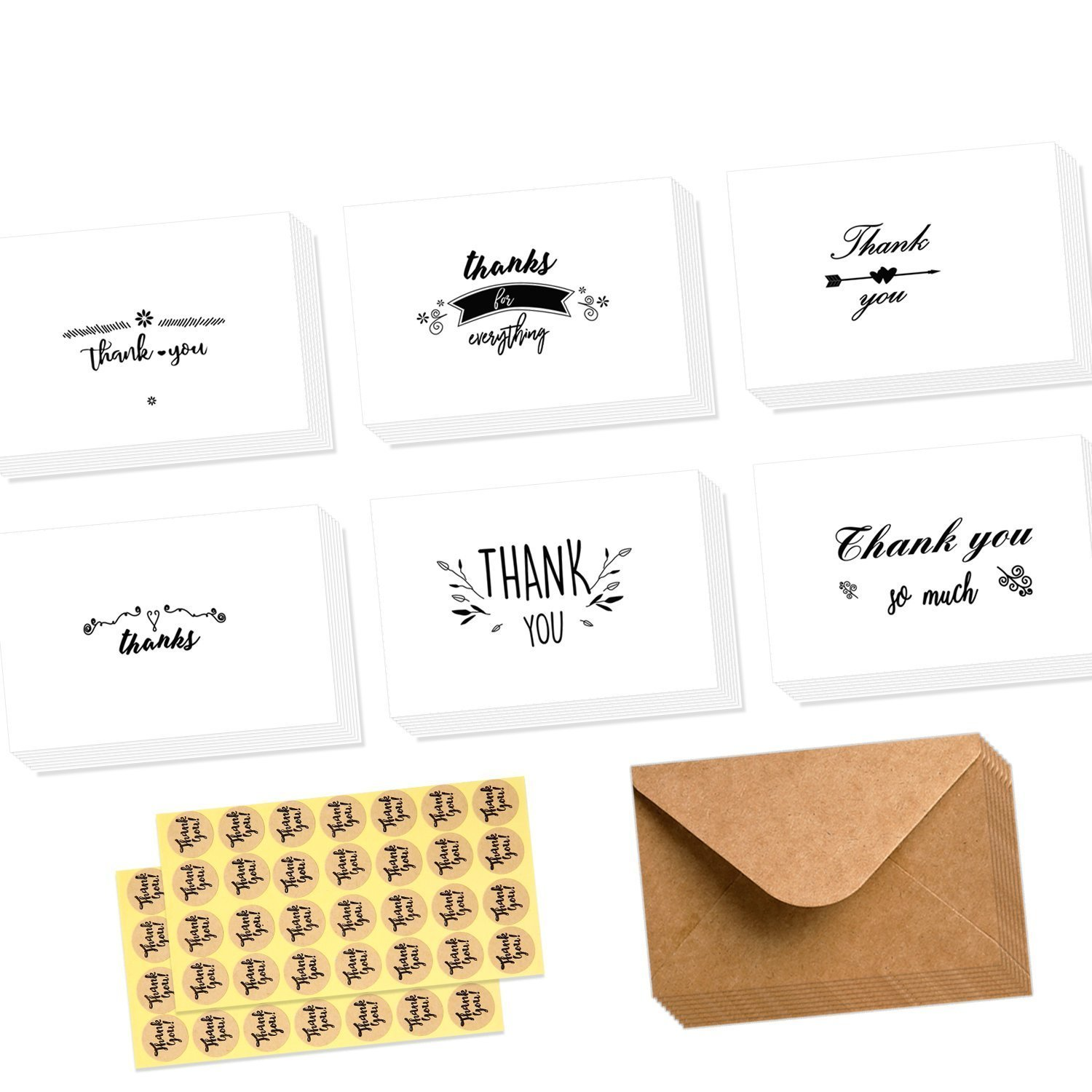 Ohuhu Assorted Thank You Cards, 48 Pack Thank U Greeting Cards Folded Thank You Note Cards of 6 Designs W/ 48 Brown Kraft Paper Envelopes and 48 Pcs Stickers for Wedding, Baby Shower, Graduation