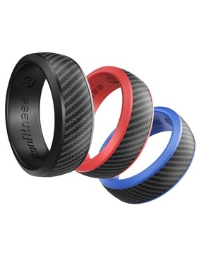 Ikonfitness Silicone Wedding Ring for Men - 3 Pack Comfortable Fit, Skin Safe, Non-Toxic, Antibacterial Rubber Wedding Ring Black, Blue, Red - Come with a Gift Box