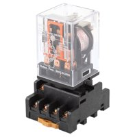 220V Coil 3PDT 11-Pin Electromagnetic Relay + 35mm DIN Rail Socket Base