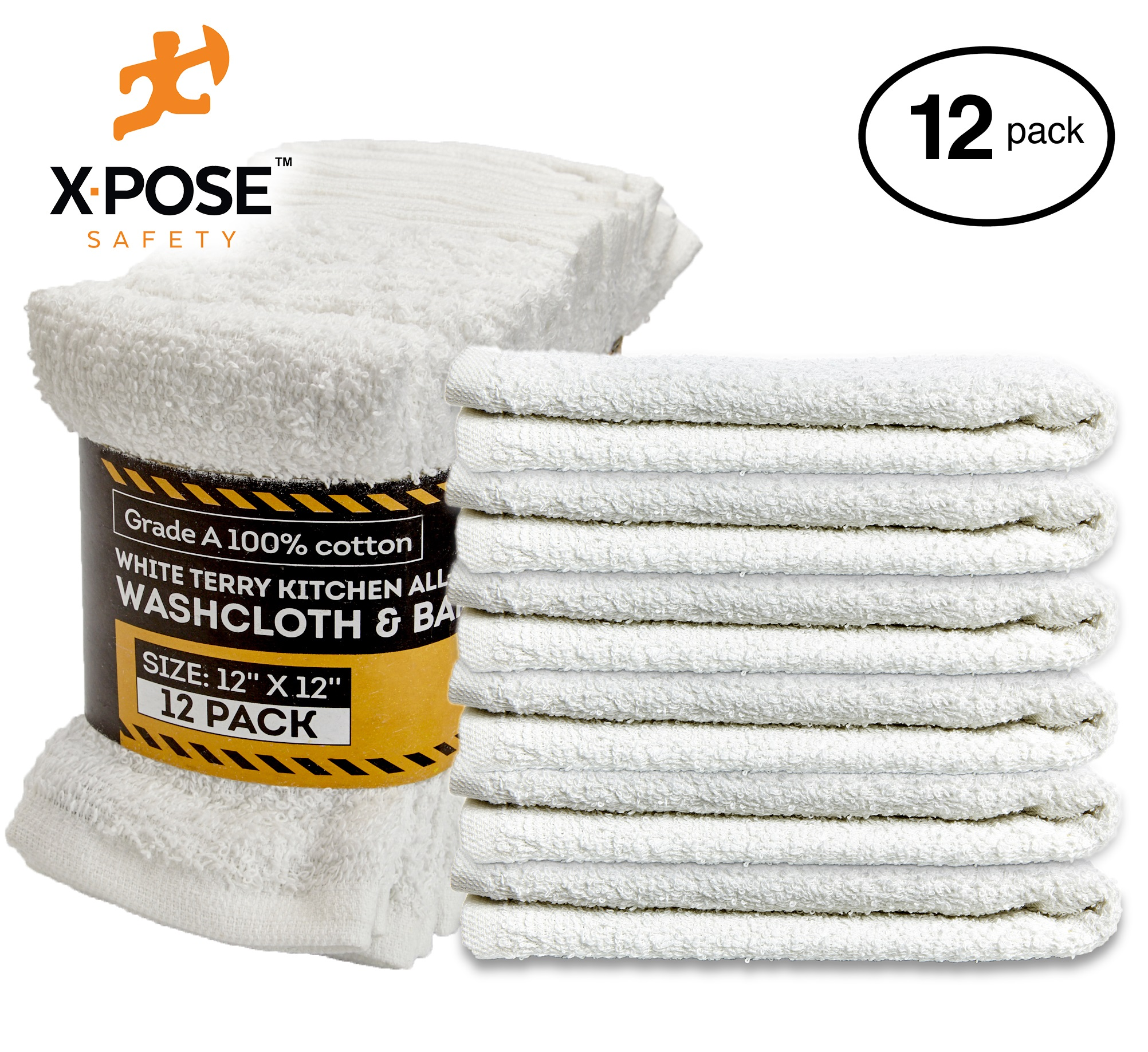 "Bar Mop Towels 12 Pack - Terry Cloth Cotton - Premium Quality Absorbent Home, Kitchen and Restaurant White Cleaning Rags - 12"" x 12"" - by Xpose Safety"