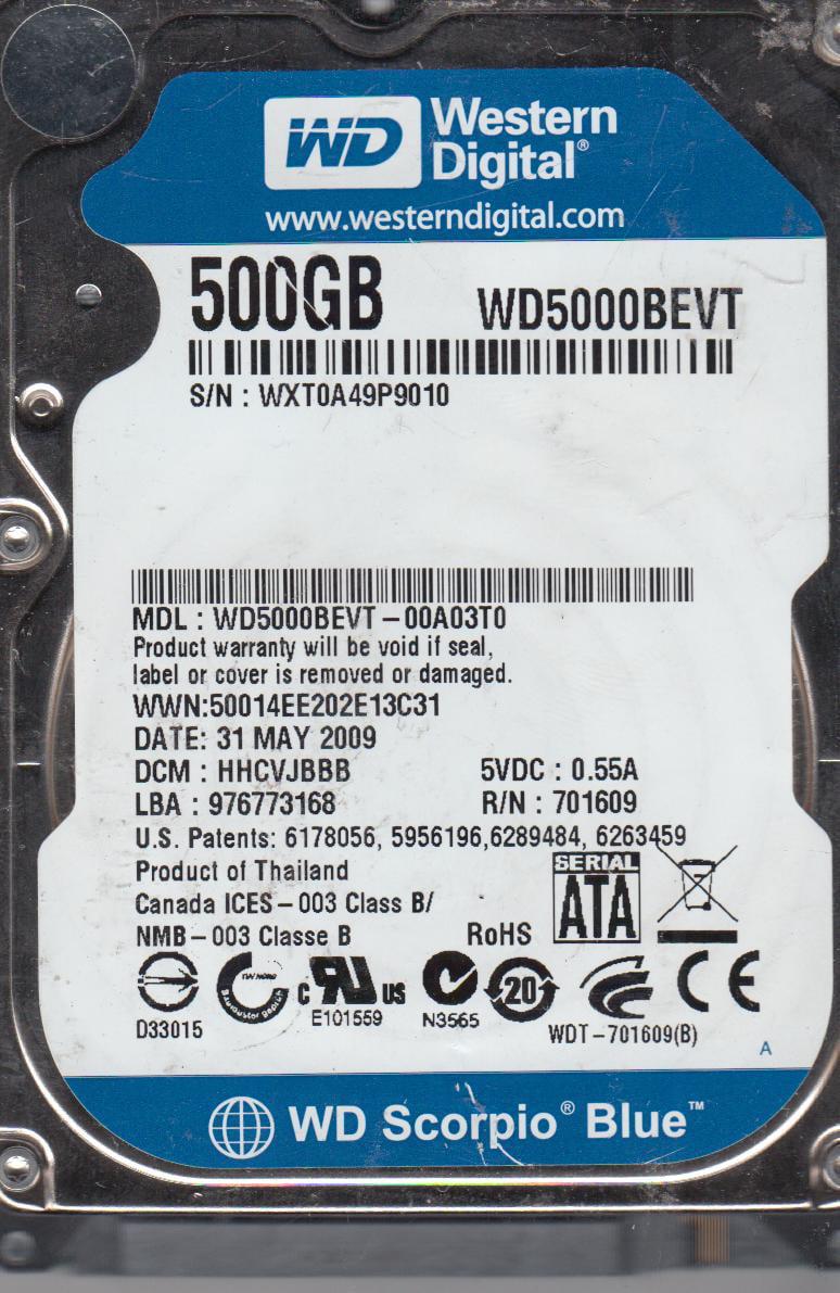 WD5000BEVT-00A03T0, DCM HHCVJBBB, Western Digital 500GB SATA 2.5 Hard Drive by Western Digital