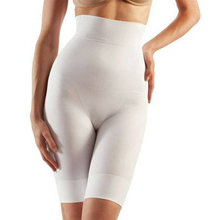 Tummy Flatting & Butt enhancing High Waist Compression Shorts. Microfiber Shape Wear. For Slimmer Look & After Cosmetic Surgery. Post-Op Garments. Fine Italian Made Quality & Style(Med. White)