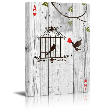 wall26 Poker Cards Canvas Wall Art - Hearts Ace - Little Bird Carrying Red Heart to His Lover - Valentines Day Gift - Gallery Wrap Modern Home Decor   Ready to Hang - 16x24 inches