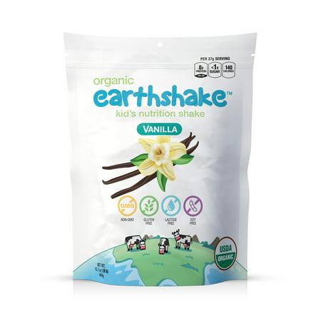 Earthshake Organic Kids Nutritional Shake, Vanilla, 8g Protein <1g Sugar, Gluten Free, Lactose Free, 12-24 Servings 15.7oz ()