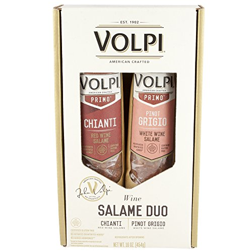 Volpi Wine Salami Duo Gift Box Chianti and Pinot Grigio Wine Infused Salame by