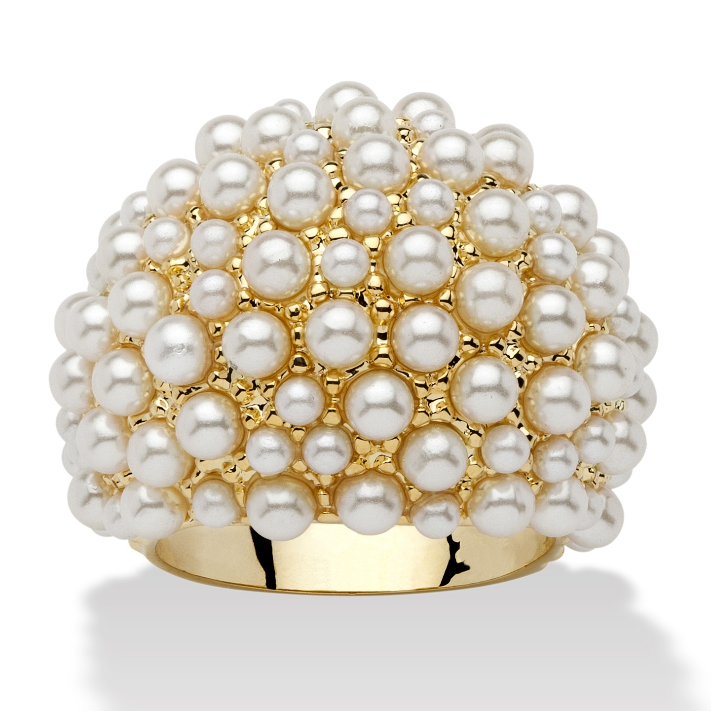 Round Pearl 14k Yellow Gold-Plated Cluster Dome Ring