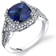 3.00 Carats Cushion Cut Created Sapphire Checkerboard Ring in Sterling Silver