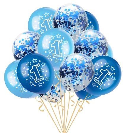 "1 Year Old Birthday Party Themes (15pcs 12"" Foil Latex Confetti Balloon Baby One Year Old Happy Birthday)"