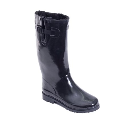 Women Rubber Rain Boots /w Faux Fur Lining (Womans Boot Liners)