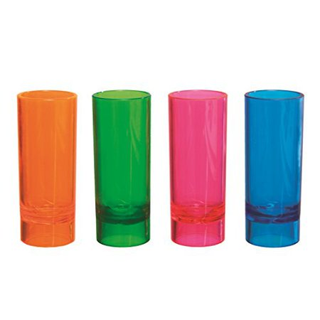 Party Essentials Hard Plastic 2-Ounce Shooter Glasses, Assorted Neon, 10 Count