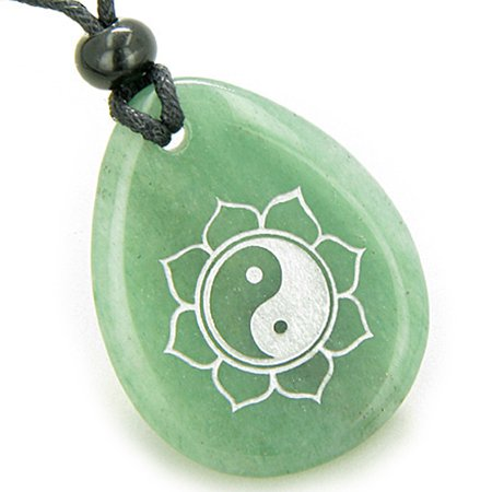 Green Rutilated Quartz Necklace - Magic Ying Yang and Lotus Sun Circle Amulet Green Quartz Pendant Necklace