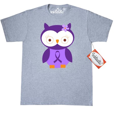 Inktastic Purple Ribbon Owl Awareness T-Shirt Cystic Fibrosis Lupus Alzheimers Disease Pancreatic Cancer Fibromyalgia Support Mens Adult Clothing Apparel Tees T-shirts Hws