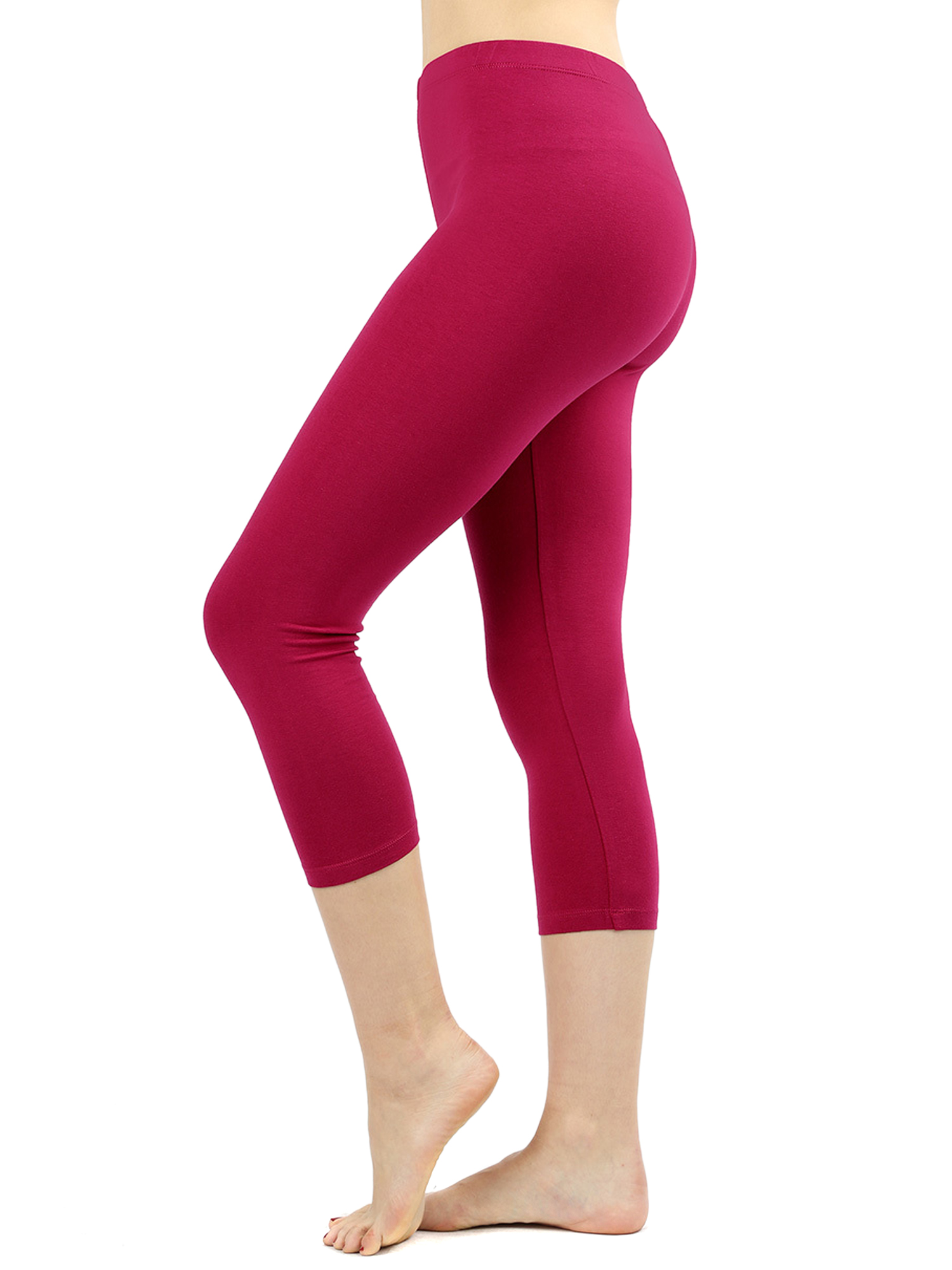 Women Premium Cotton High Waist Capri Length Leggings