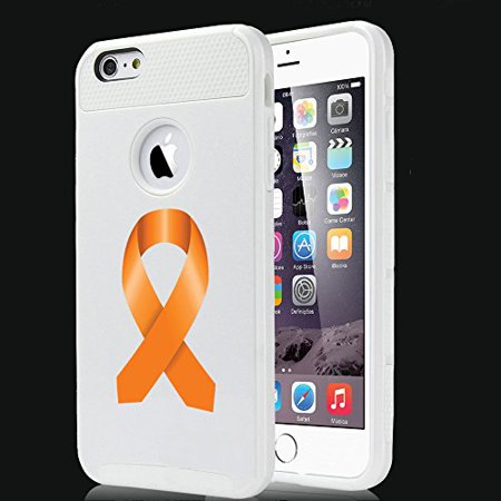 For Apple iPhone 7 Shockproof Impact Hard Soft Case Cover Leukemia Cancer Multiple Sclerosis Kidney Cancer Color Awareness Ribbon (White)