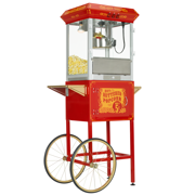 FunTime Carnival 8oz Popcorn Machine with Cart, Red/Gold
