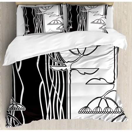 Black And White King Size Duvet Cover Set Abstract Fennel Plants