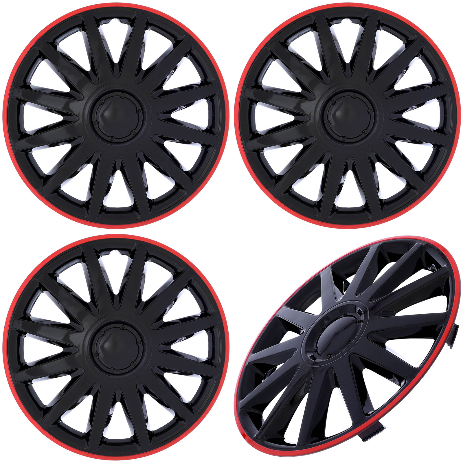 """Cover Trend (Set of 4), Aftermarket, 16"""" inch Shiny Black W/ Red Trim Hub Caps Wheel Covers"""