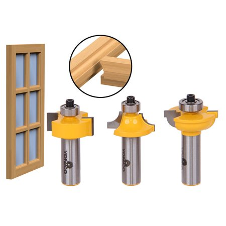 3 Bit Glass Door Router Bit Set - Round-Over Bead - 1/2
