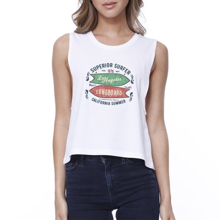f1d037fa7b7 Superior Surfer LA Longboard Womens White Sleeveless Summer T-shirt -  Walmart.com