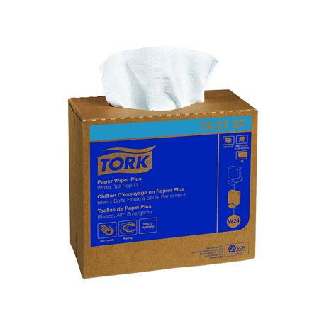 SCA Tork 450 Double Recrepe Wiper, Pop-Up , White, 9.25